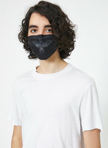 Koton Baskılı Yikanabilir Maske Siyah